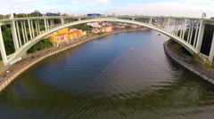 Aerial view of a bridge in Porto - Portugal Stock Footage