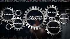 On Offline, Services, Solution, Reward, Communication, 'CUSTOMER SATISFACTION' - stock footage