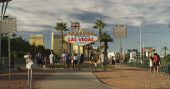 Tourists at the Welcome to Las Vegas Sign Stock Footage