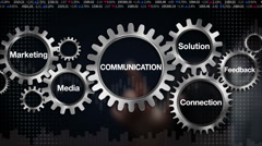 Gear with Solution, Feedback, Connection, Marketing, Media, 'COMMUNICATION' Stock Footage
