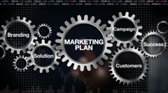 Gear with Branding, Solution, Customers, Campaign, Success, 'Marketing Plan' - stock footage
