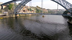 Aerial view of Luiz I bridge in Porto - Portugal Stock Footage
