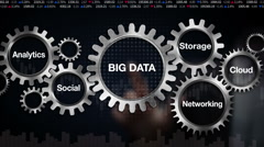 Gear with Analytics, Social, Storage, Cloud , Networking, 'BIG DATA' Stock Footage
