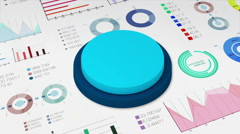 Two circle cylinder graph with various diagram for presentation templete. Stock Footage
