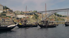 Oporto - Ribeira Douro river & boats Stock Footage