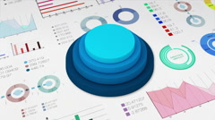 Four circle cylinder graph with various diagram for presentation templete. Stock Footage