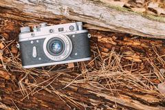 Old Vintage Rangefinder Camera, 1950-1960s - stock photo