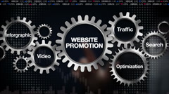 Gear, Search, Inforgraphic, Video, Traffic , Optimization, 'WEBSITE PROMOTION' - stock footage