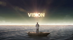 Rising typo VISION, front of Businessman on a ship, in the ocean, sea. - stock footage