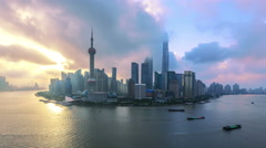 "Aerial view of Shanghai at sunrise, China. >>>please Search: ""shanghaiskyline"" - stock footage"