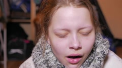Teen girl having a flu or cold. 4K UHD Stock Footage