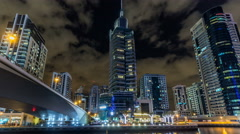 View of Dubai Marina Towers and canal in Dubai night timelapse hyperlapse Stock Footage