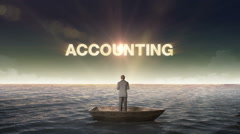 Rising typo ACCOUNTING, front of Businessman on a ship, in the ocean, sea. - stock footage