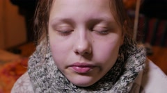 Teen girl having a flu or cold Stock Footage