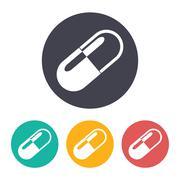 Vector pill icon - stock illustration