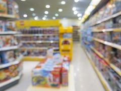 Blurred of kids toy store background - stock photo