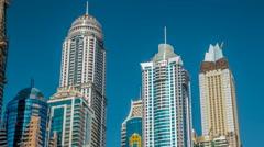 Luxurious Residence Buildings timelapse hyperlapse in Dubai Marina, UAE - stock footage