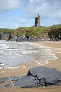 wild atlantic way castle and beach - stock photo
