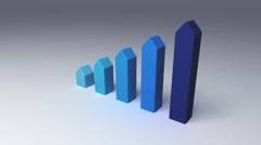 Increase five 3D arrow bar. chart for presentation template.version 1 - stock footage