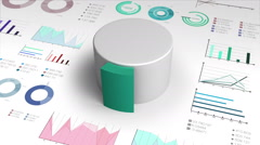 10 percent circle cylinder pie chart and various graph chart for presentation. - stock footage
