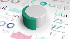 40 percent circle cylinder pie chart and various graph chart for presentation. - stock footage