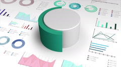 50 percent circle cylinder pie chart and various graph chart for presentation. Stock Footage