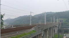 High speed bullet train runing on the railway - stock footage