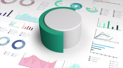 60 percent circle cylinder pie chart and various graph chart for presentation. Stock Footage