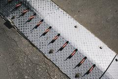 High angle view of spike barrier - stock photo