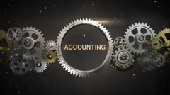 Connecting Gear wheels, and make keyword, 'ACCOUNTING' (included alpha) - stock footage
