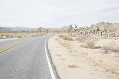 Road passing through arid landscape against sky Stock Photos