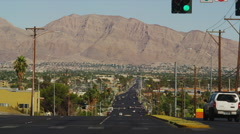 View Along E. Bonanza Road towards the Frenchman Mountains Stock Footage