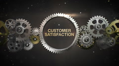 Connecting Gear wheels, and make keyword, 'CUSTOMER SATISFACTION' - stock footage