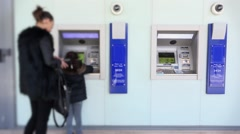Mother And Daughter Using ATM Stock Footage