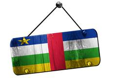 Central african republic flag, 3D rendering, vintage grunge hang - stock illustration