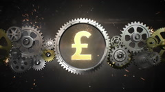 Connecting Gear wheels, and make pound money currency sign(included alpha) - stock footage