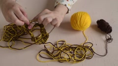 Crocheting female hands Stock Footage