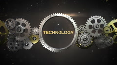 Connecting Gear wheels, and make keyword, 'Technology' (included alpha) - stock footage
