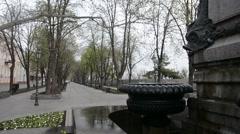 Fountain on deribasovskaya Street in Odessa Stock Footage