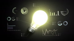 Turn on bulb light, and various economic charts and graphs, idea concept. Stock Footage