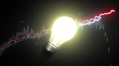 Turn on bulb light, and Increase economic stock charts and graphs, idea concept. - stock footage
