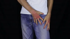 Empty Pockets of His Jeans. No Money Stock Footage