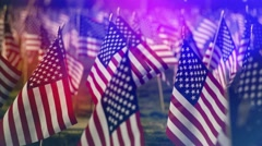 Closeup of American flag on grunge background. Copy space Stock Footage
