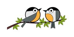Two tits sitting on a tree branch - stock illustration