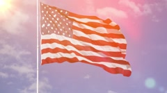 Wide angle photo of a tattered American flag - stock footage