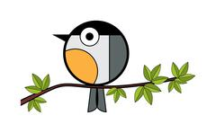one tit sitting on a tree branch - stock illustration