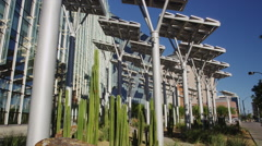 Solar Panel Trees Outside the Las Vegas City Hall Stock Footage
