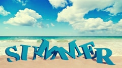 letters summer on the beach and clouds - stock footage