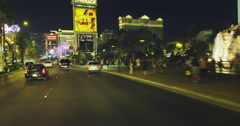 Driving along Las Vegas Blvd at Night POV Stock Footage