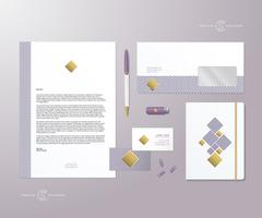 Creative Geometry Purple and Gold Realistic Vector Stationary Set with Soft - stock illustration